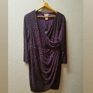 Monroe & Main Faux Wrap Velvet Midi Dress